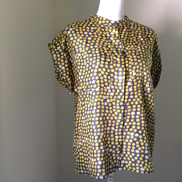 91633ef6645ef2 CAbi Tops | Yellow Silk Clover Dots Blouse 183 Small | Poshmark